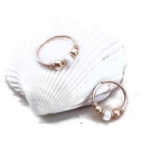 Moodtherapy Jewelry - 14KYGF Indie/Boho Beaded Cartilage Hoop Nose Ring